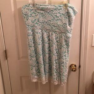 Mint Green/Blue Strapless Lace Dress